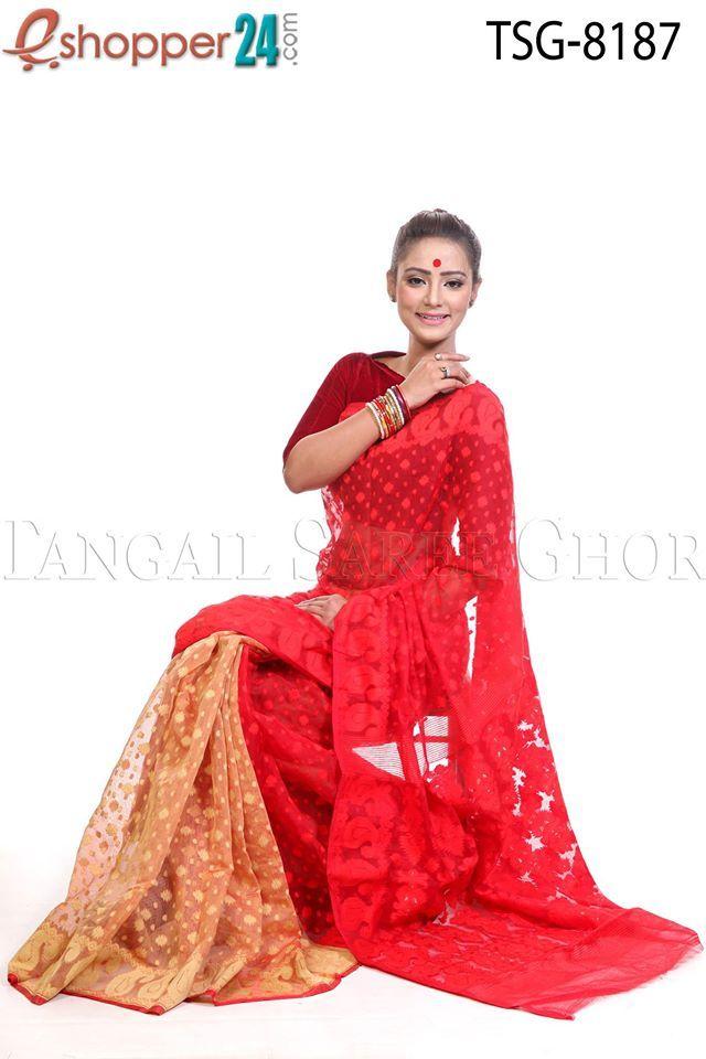 0681b6597fc Soft Moslin Jamdani Saree | Dhakai Jamdani Saree | Jamdani saree ...