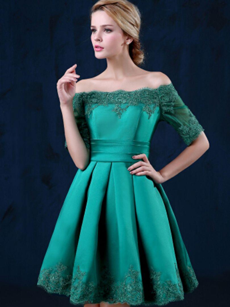 aa3bbf22a369 Green Off Shoulder Lace Hem Half Sleeve Lacing Back Prom Skater Dress