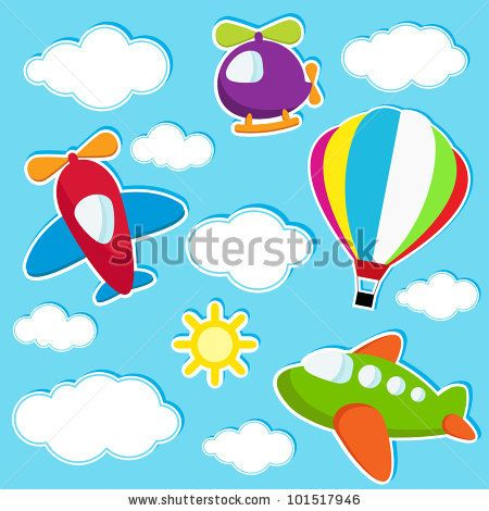 vector sky with air transport stickers by Ann Precious, via ShutterStock