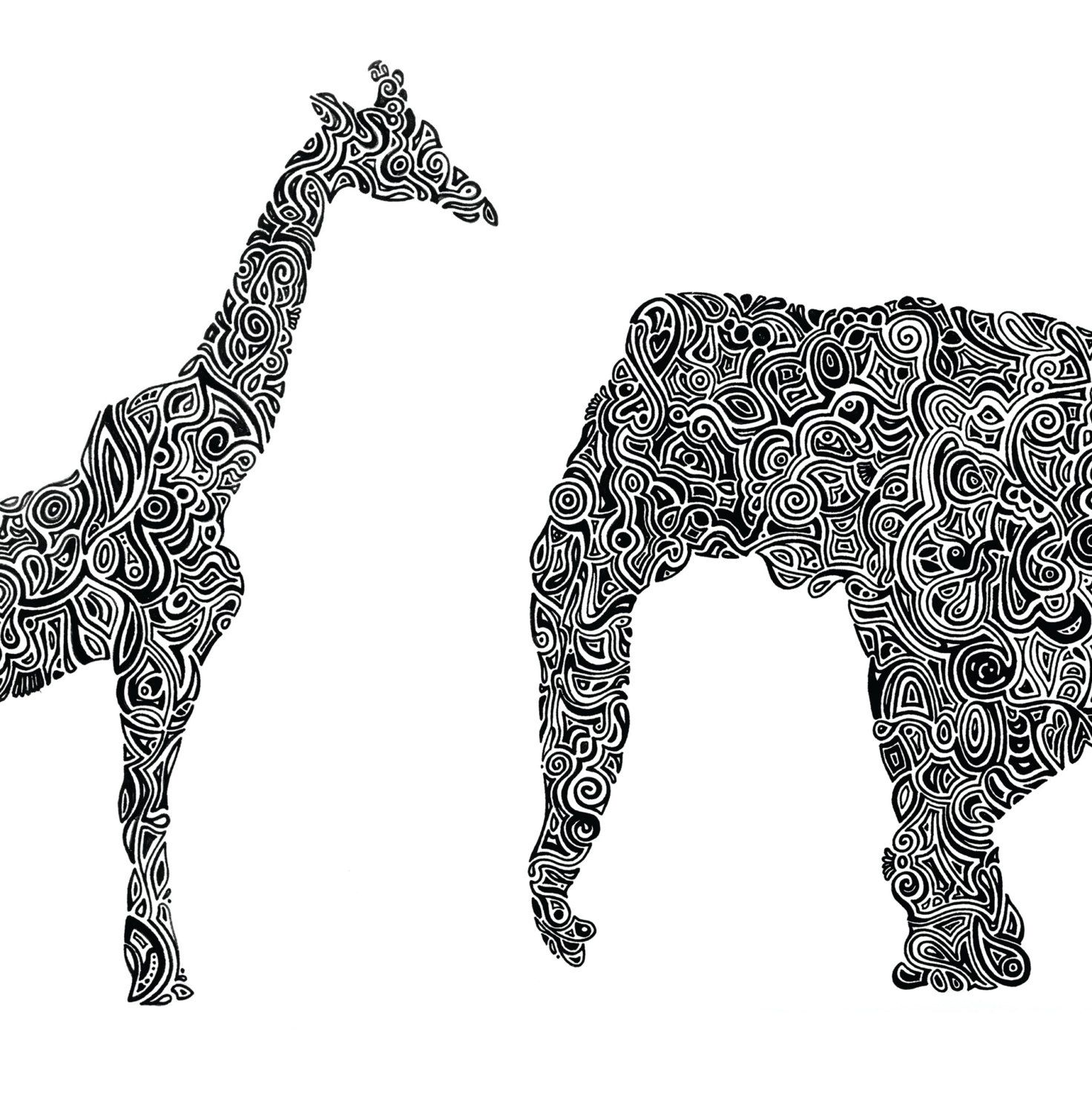 custom animal art print india ink line by therebelexperiment