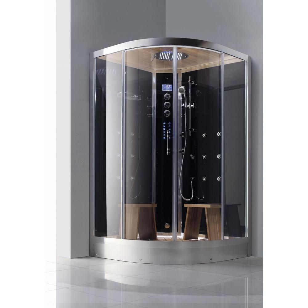 Athena 2 Person Luxury Walk In Corner Steam Shower Enclosure Kit In Black Steam Shower Enclosure Steam Shower Kit Shower Enclosure Kit