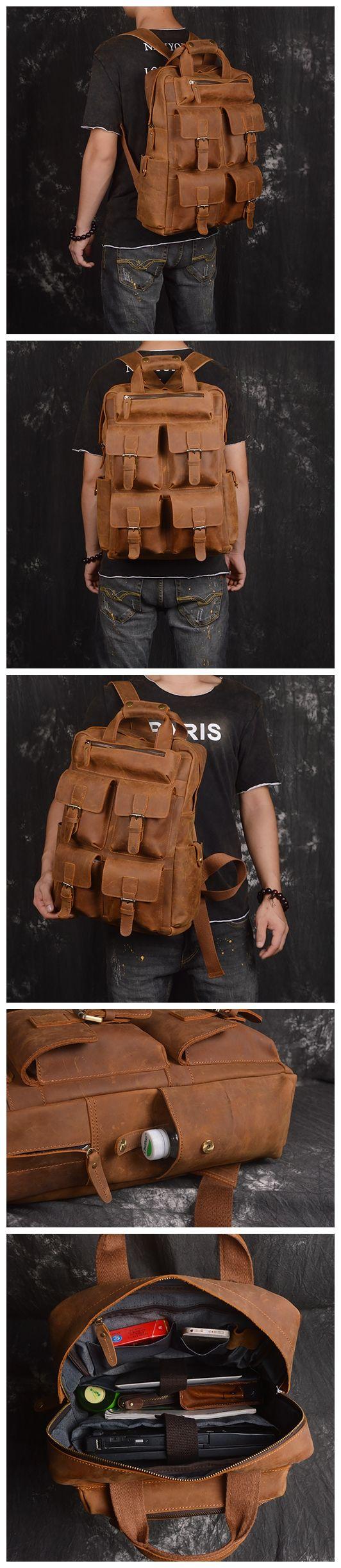Handmade Genuine Leather Backpack, Travel Backpack, School Backpack
