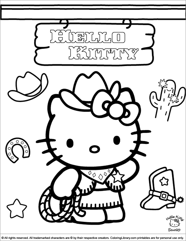 Hello Kitty Coloring Sheet Hello Kitty Is Dressed Up Like A Cowgirl In 2020 Hello Kitty Colouring Pages Kitty Coloring Hello Kitty Coloring