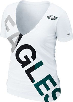 779c6828 Philadelphia Eagles Women's White Nike Off-Kilter Tri-Blend Deep V ...