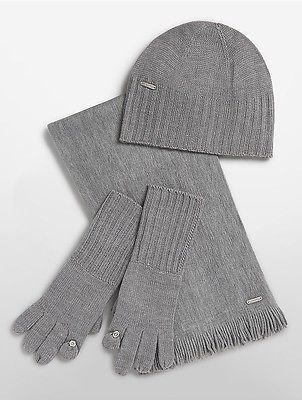 ab90bc06d3f Calvin Klein Womens Knit Hat Tech Gloves Scarf Set Heathered Mid Grey  hat   womens