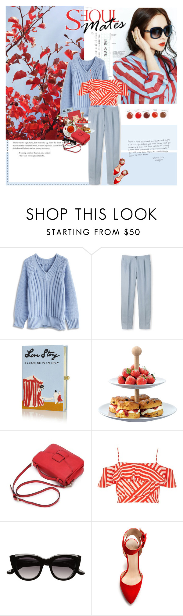 """""""Mere color, unspoiled by meaning, and unallied with definite form, can speak to the soul in a thousand different ways."""" by maybones ❤ liked on Polyvore featuring Chicwish, Olympia Le-Tan, LSA International, River Island, Witchery and Zara"""