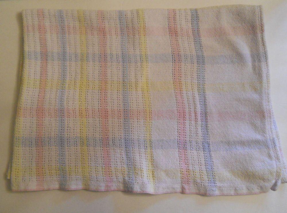 Vtg Cotton Woven Baby Blanket Pastel Plaid Stripe Blue Green Pink Yellow Beacon Cotton Blankets Blanket Set Cotton Weaving