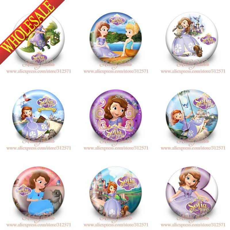 Free shipping,18pcs Novelty Fashion 1.2 inches & 30mm  Sofia Buttons Pins Badges Round Badges Party favor,Kid's Gift