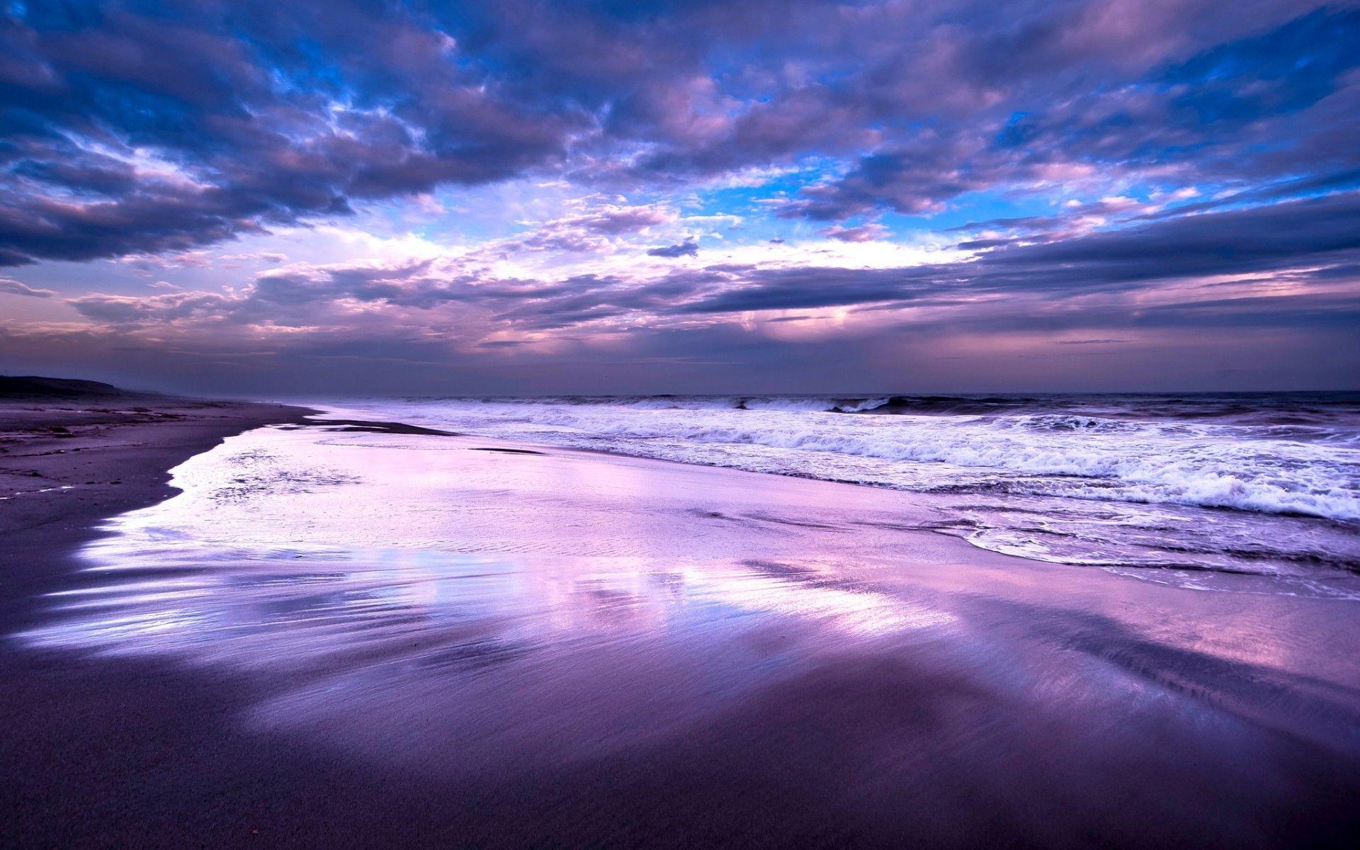 Purple Sunset At The Beach Wallpaper Purple Sunset