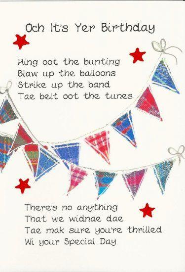 Scottish Birthday Card Bunting Birthday Cards Cards Birthday Wishes Funny