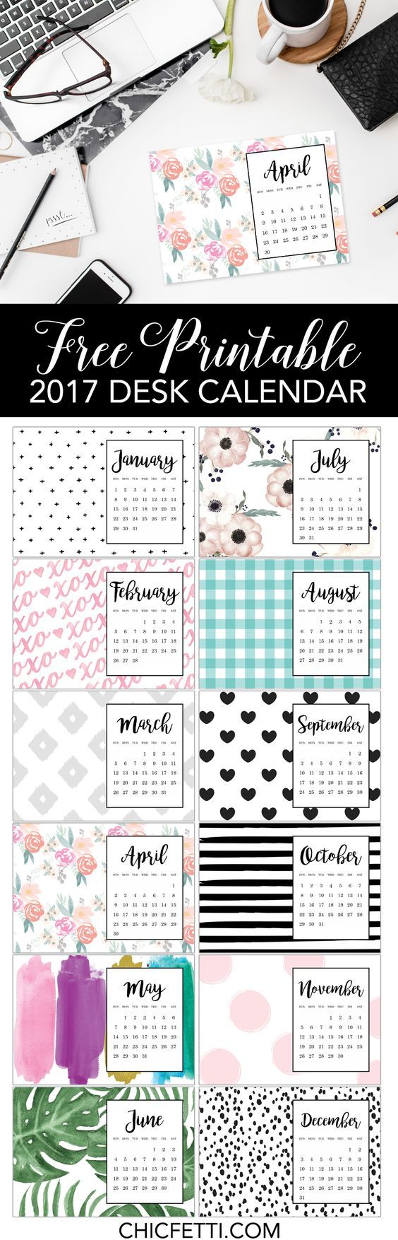Free Printable Calendar   Chicfetti Blog  Free Printable