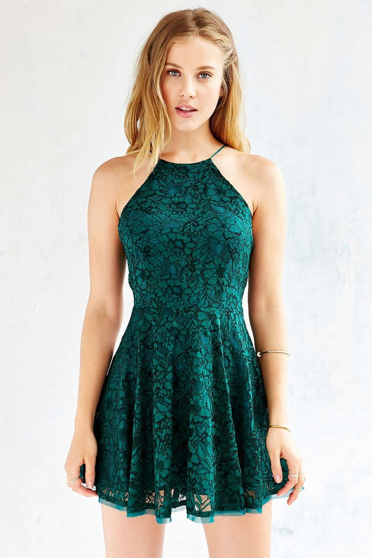 Kimchi Blue Lorraine High-Neck Fit + Flare Dress - Urban Outfitters - evening formal…