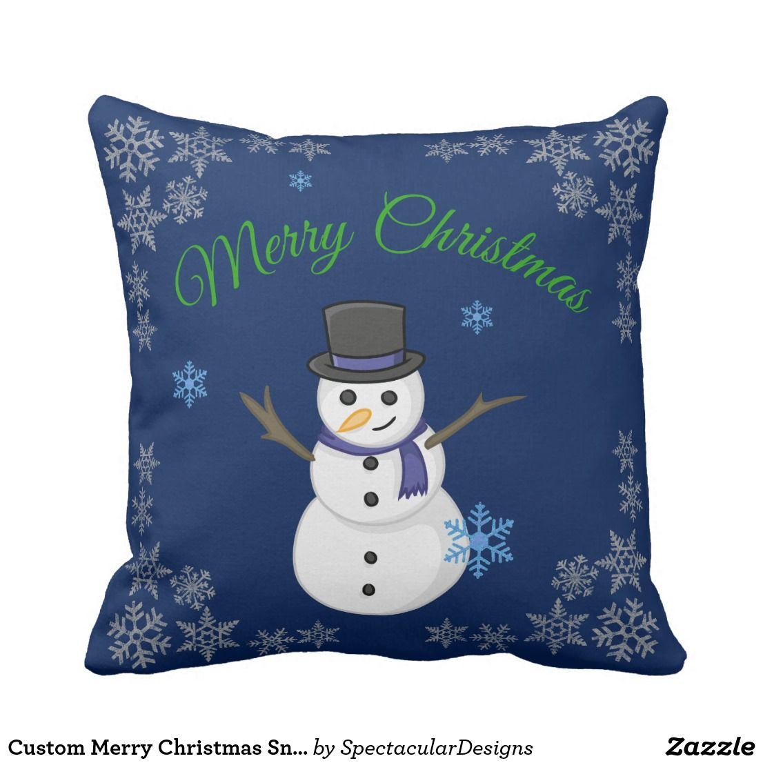 Custom merry christmas snowman pillow in all aboard for