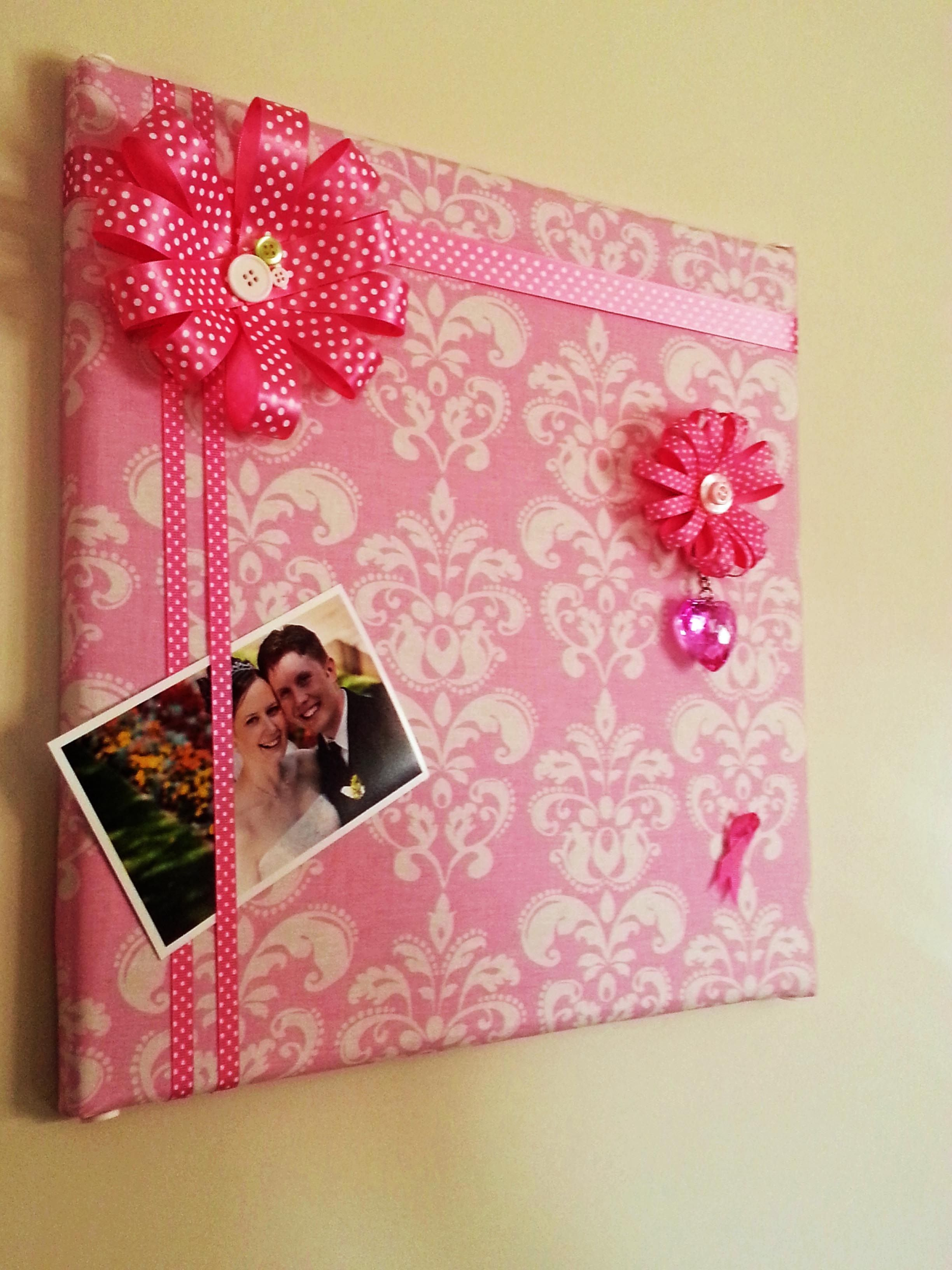 Diy - Cork Board Design With Ribbon Flower Push Pins