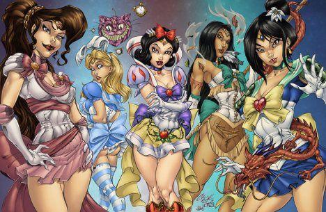 Megara, Alice, Snow White, Pocahantas, and Mulan pinup pin-up