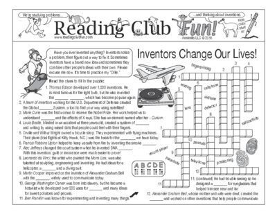 Bundle Inventions And Inventors Two Page Activity Set And Crossword Puzzle From Reading Club Fun On Teachersnoteb Reading Club Summer School Fun Math For Kids
