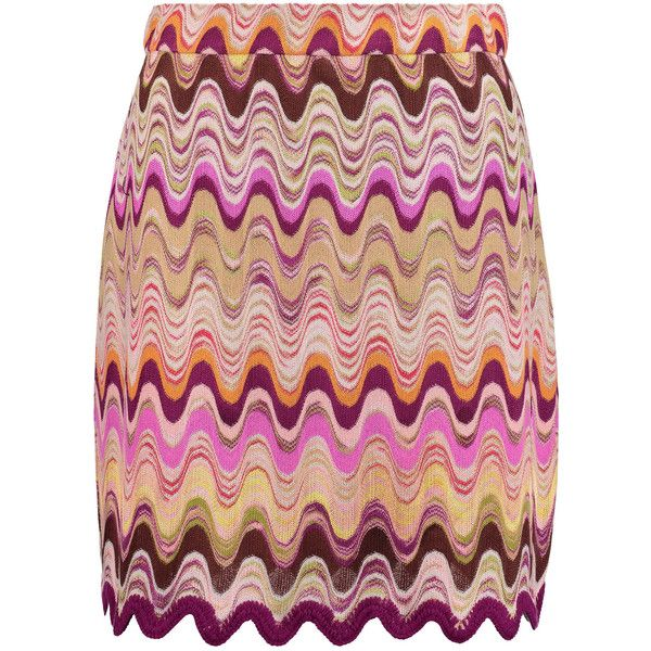 Missoni - Crochet-knit Mini Skirt (8.400 UYU) ❤ liked on Polyvore featuring skirts, mini skirts, multi, short skirts, scalloped skirt, multi color skirt, multicolor skirt and crochet skirt
