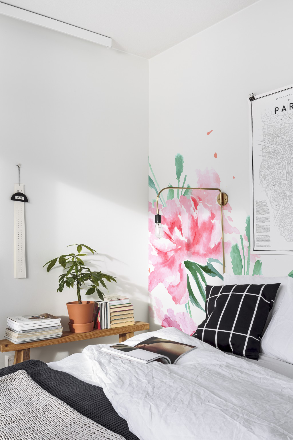 Pink floral removable wallpaper pink wall mural Etsy