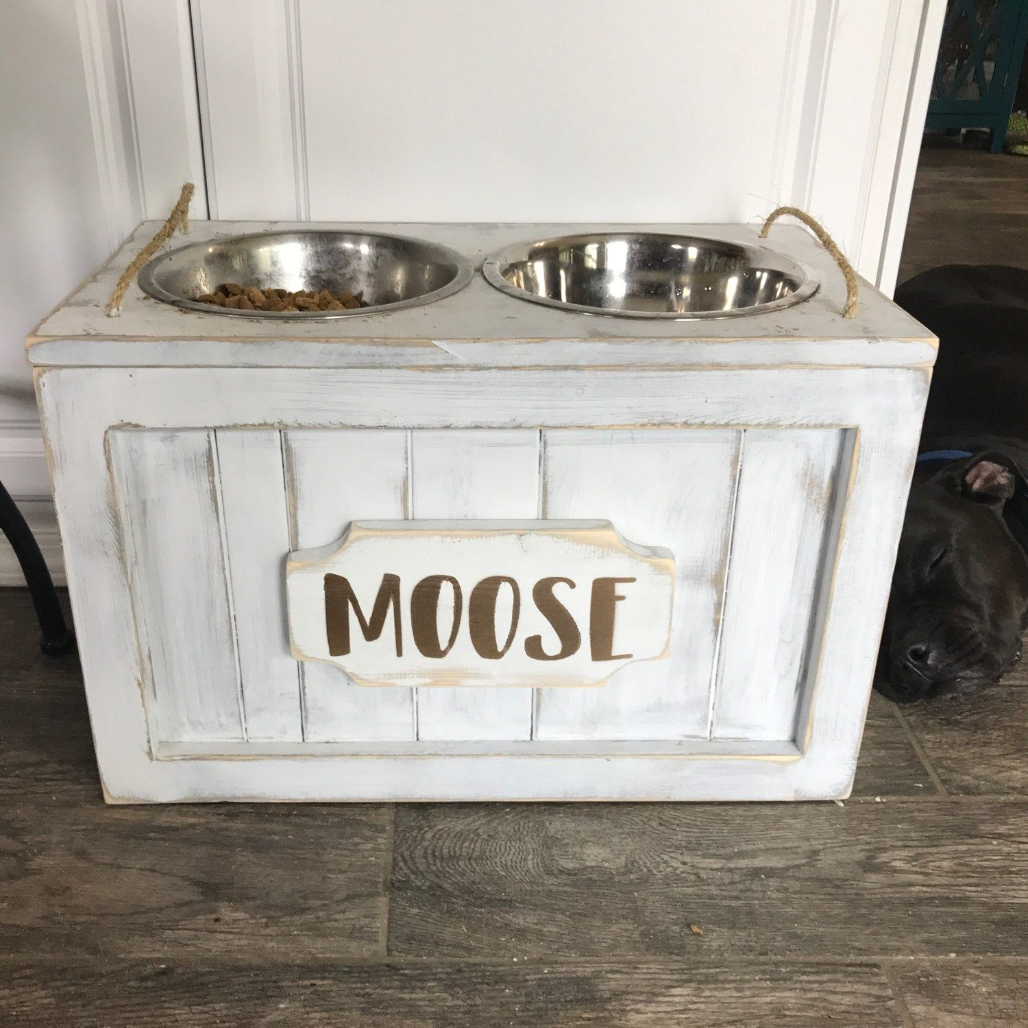 Raised Dog Bowl Stand With Storage Bowls Food