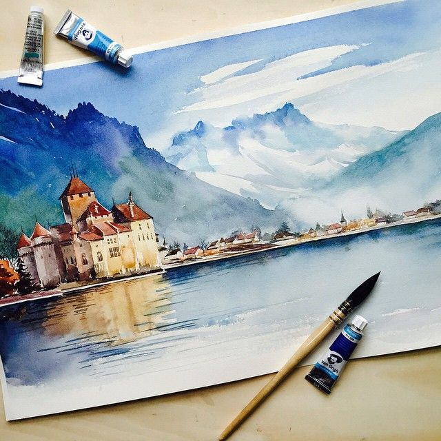 My first attempt watercolor landscape aquarelle for My first watercolor painting
