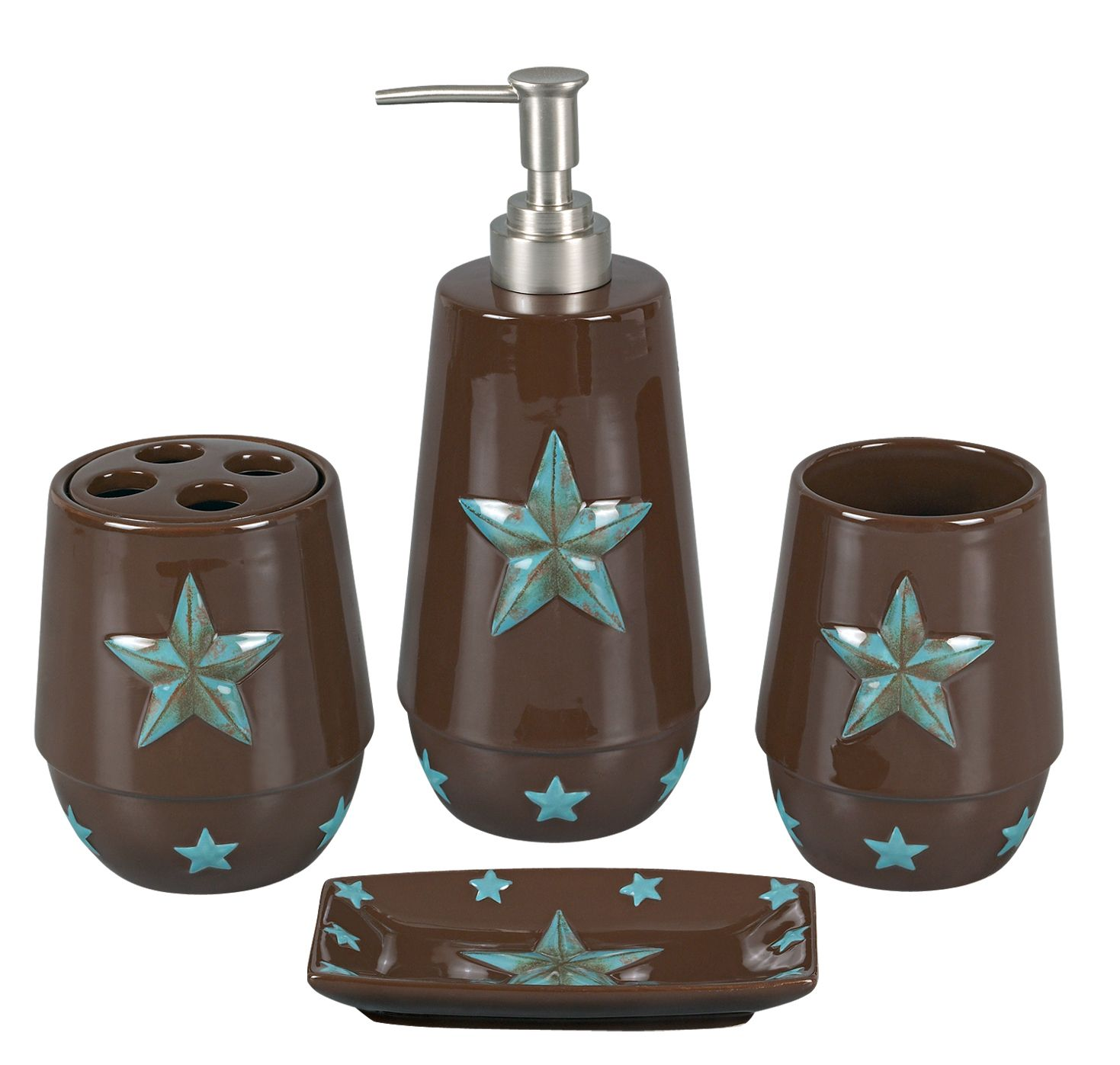 Cowboy bathroom decor - Our Bathroom Decor Sets Are Rustic Brown Ceramic With Turquoise Western Stars Lotion Pump