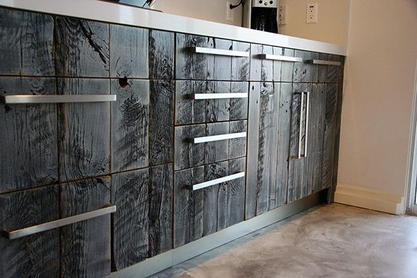 Reclaimed Lumber Faces On Ikea Cabinets Madera Quemada