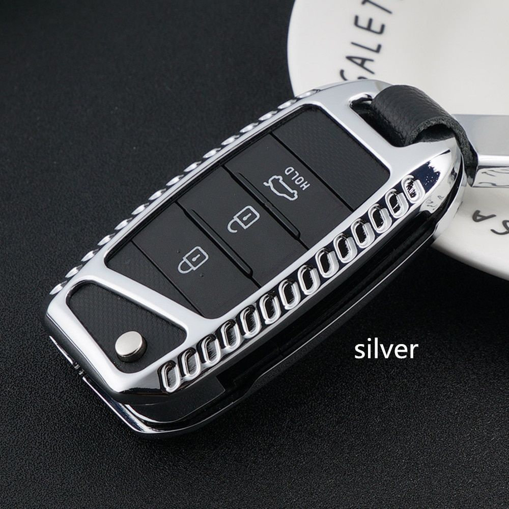 Car Key Case Cover Galvanized Alloy Accessories For Kia Rio K2 Sportage 2017 2018 Ceed Optima K5 Cerato K3 K4 Soo Carens Review