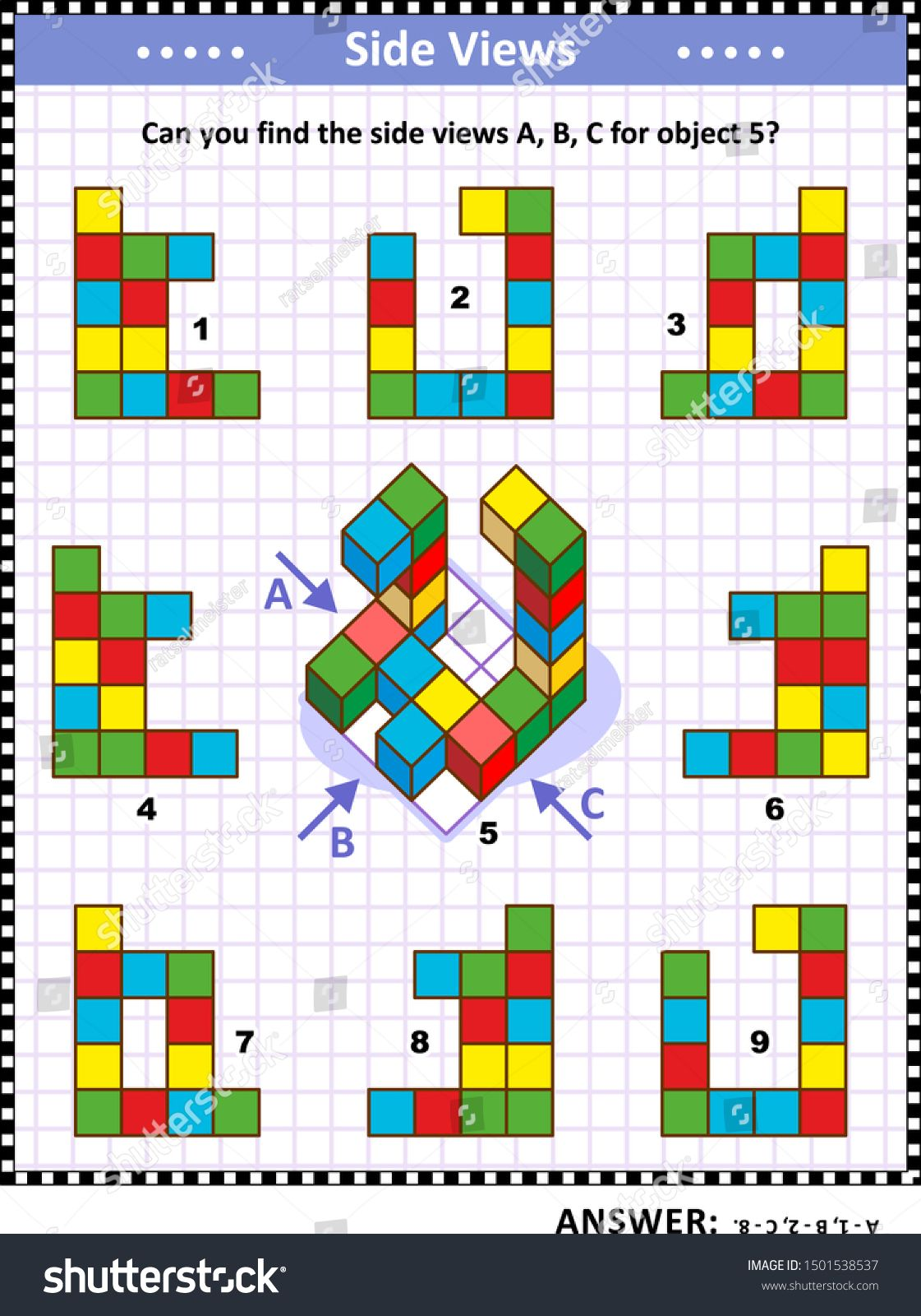 Iq Memory And Spatial Reasoning Training Educational Math Puzzle With Building Blocks Can You Find The Side Views A B C For Maths Puzzles Education Spatial [ 1600 x 1121 Pixel ]
