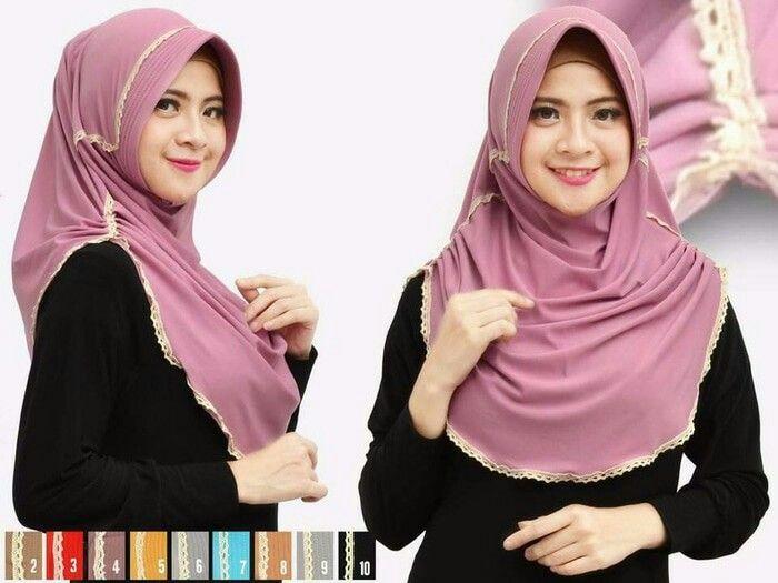 Jilbab Instan Rumana Polos Renda Jersey Model Pakaian Gaya Hijab Kerudung