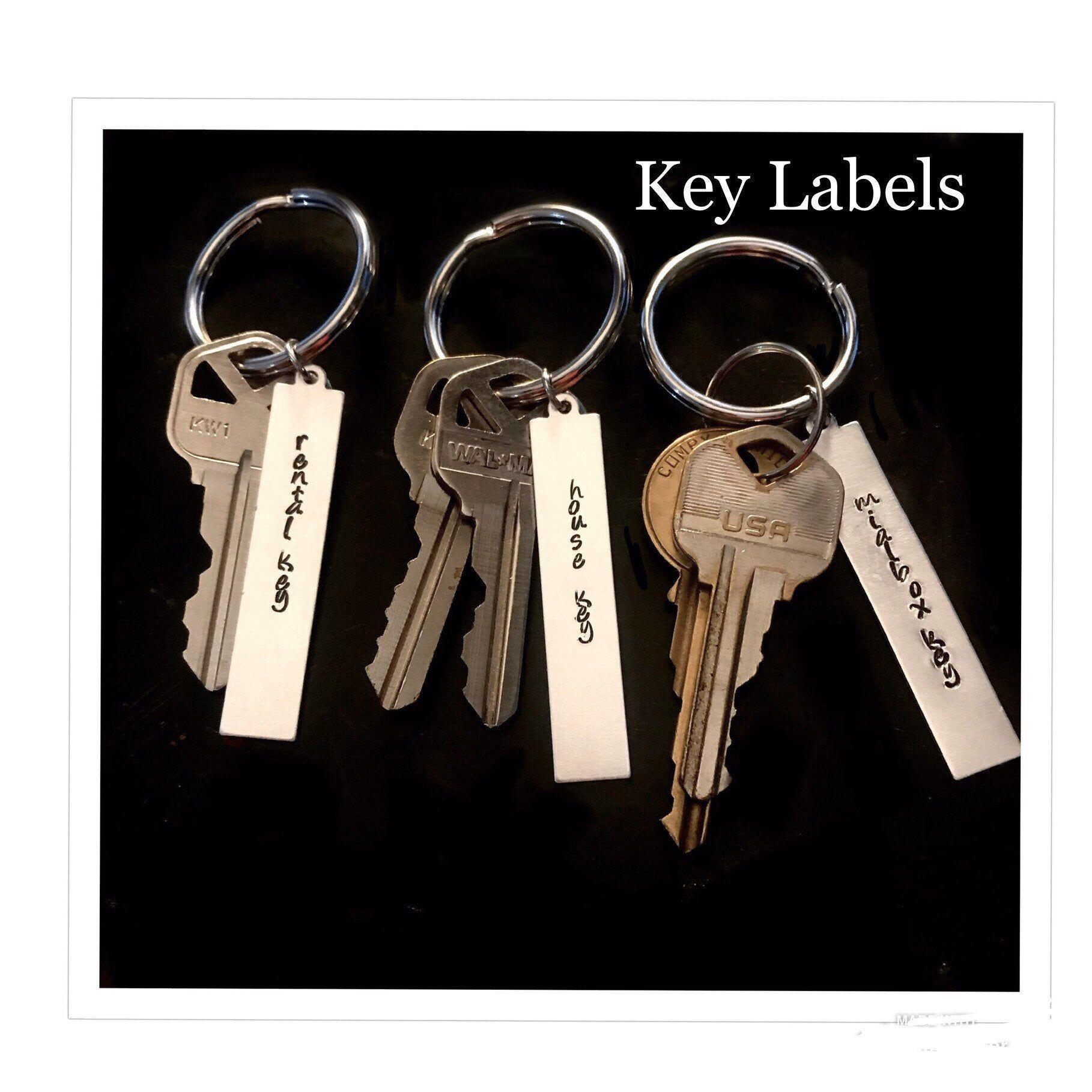 Keychains Labels Custom Keychain Personalized Key Labels Etsy In 2020 Custom Keychain Keychain Key Tags