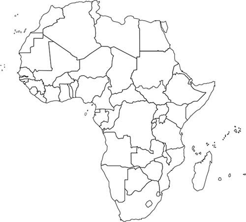 Religions in africa include islamic christianity judaism blank african map for labeling and praying gumiabroncs Gallery