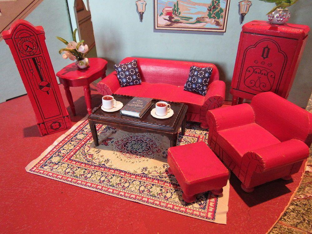 Wonderful Strombecker LIVING ROOM, Vintage Dollhouse Furniture, Kage, Schoenhut 1:16  Scale #Strombecker