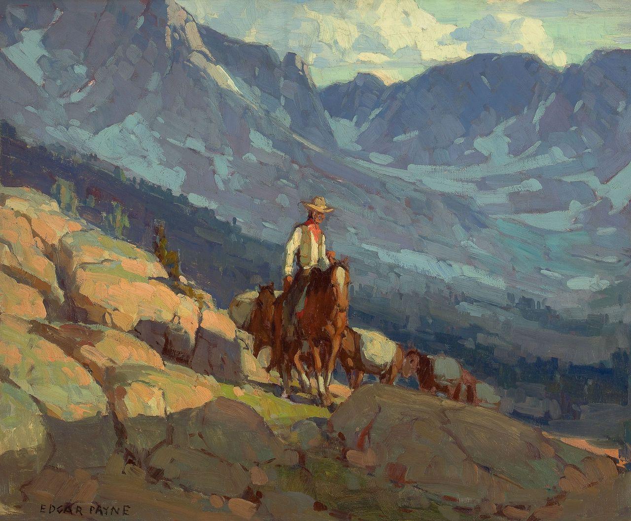 Edgar Alwin Payne Lone Packer Oil Canvas 28 X 34