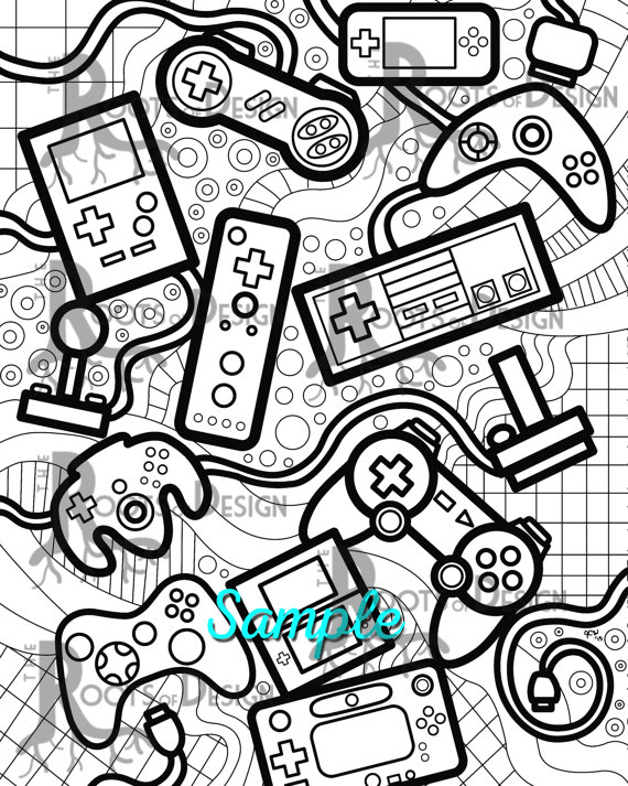 Instant Download Coloring Page Video Game Controllers Zentangle Inspired Doodle Art Gamer Printable In 2021 Video Game Drawings Coloring Pages Doodle Art