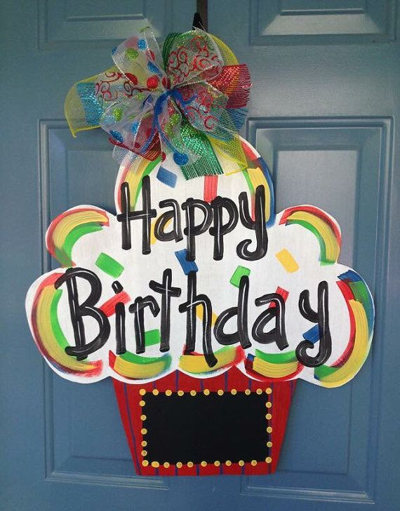 Happy Birthday Cake Cupcake Door Hanger