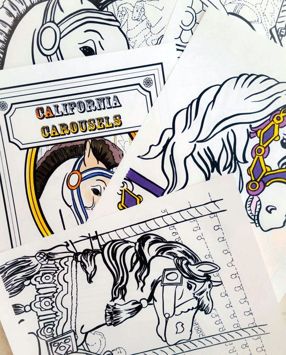 Carousel Horse Coloring Book Printable PDF Colouring Instant Download Digital Pages