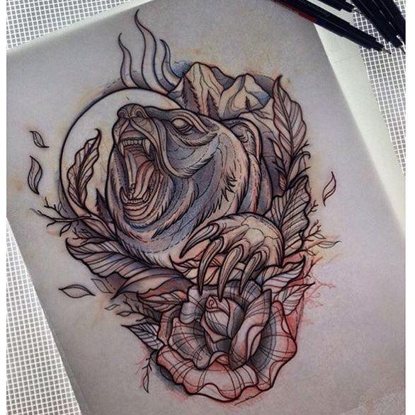 sketch by @nicolehebeisen  #sketch #drawing #lines #bear #beartattoo #tattoo…