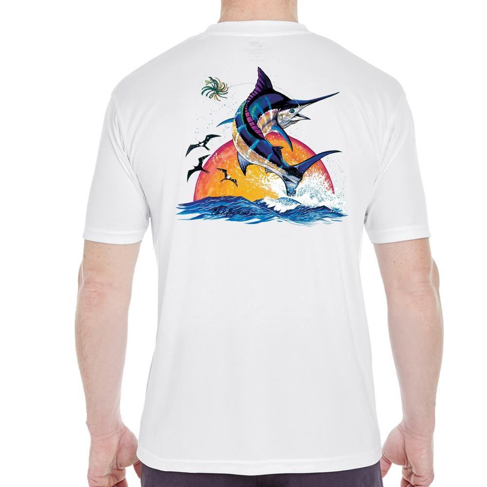 Clearwater blue marlin sunset performance shirt