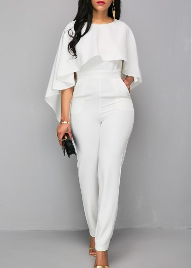 3f66f330303 All White Ruffle Overlay Cape Jumpsuits For Women Open Back White Zipper  Back Cloak Jumpsuit