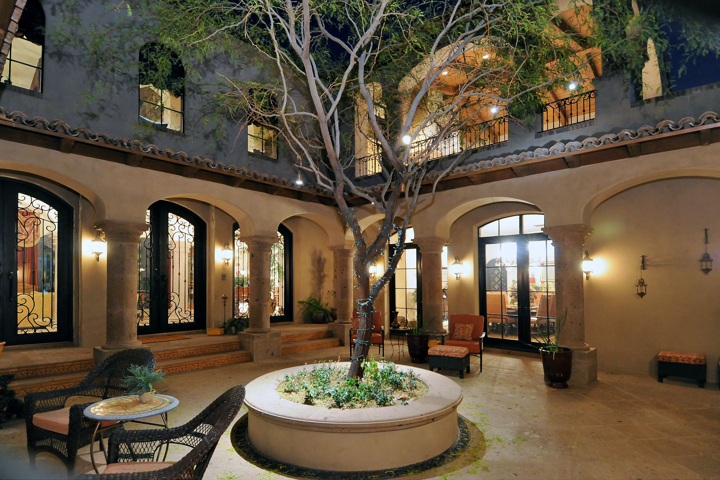 Spanish Style Homes With Courtyards | Spanish Colonial Estate   Luxury  Calvis Wyant Homes