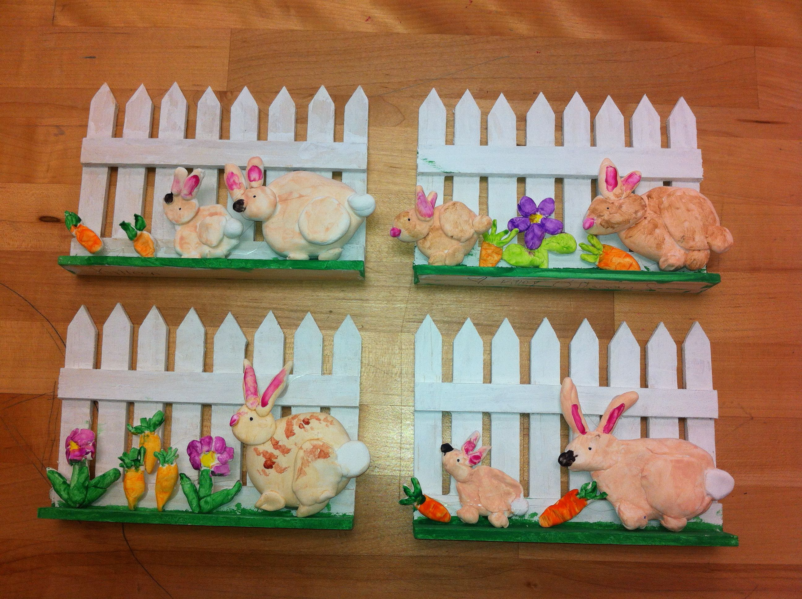 Clay Rabbits Wooden Fence Elementary Art Teacher V Giannetto