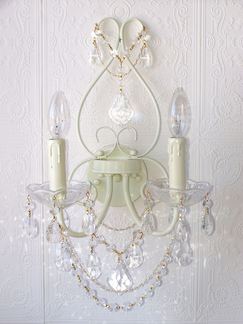 more photos 1802a 62182 Double-Light Ivory Crystal Wall Sconce | Theme: Classic ...
