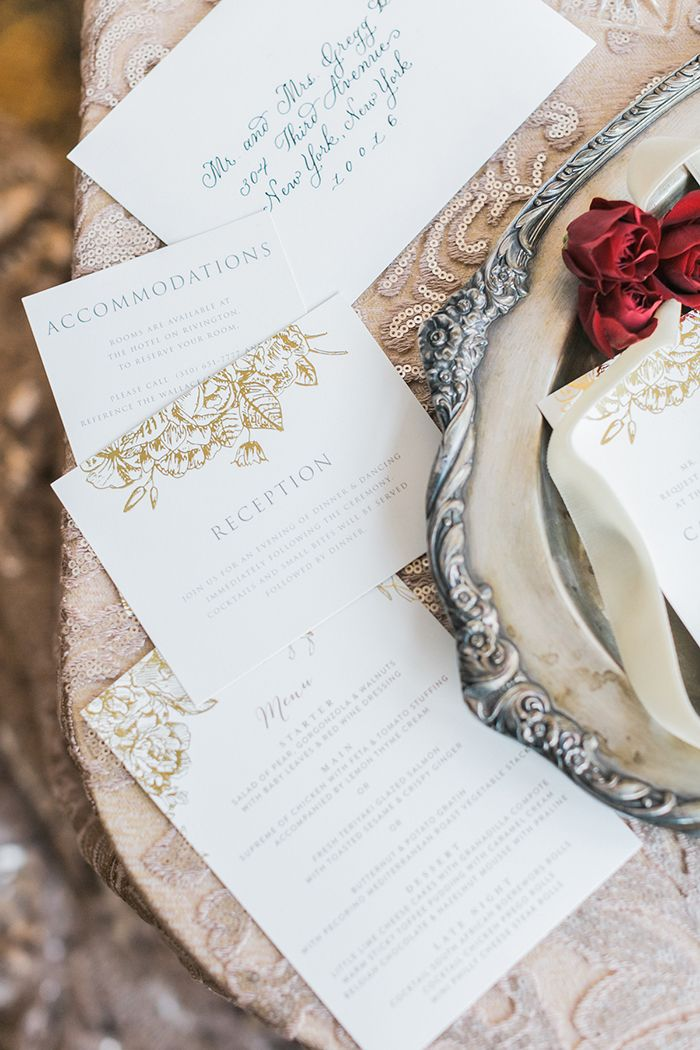 White and Gold Classic Stationery Suite