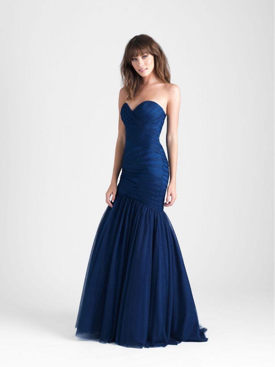Elegant mermaid sweetheart navy tulle long wedding party bridesmaid