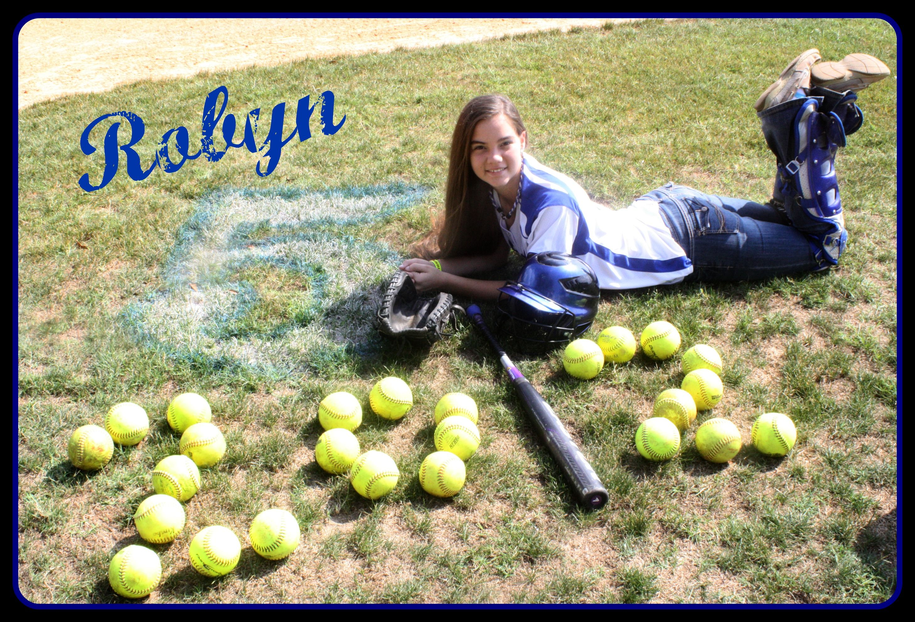senior pics I don't play softball but this is cute