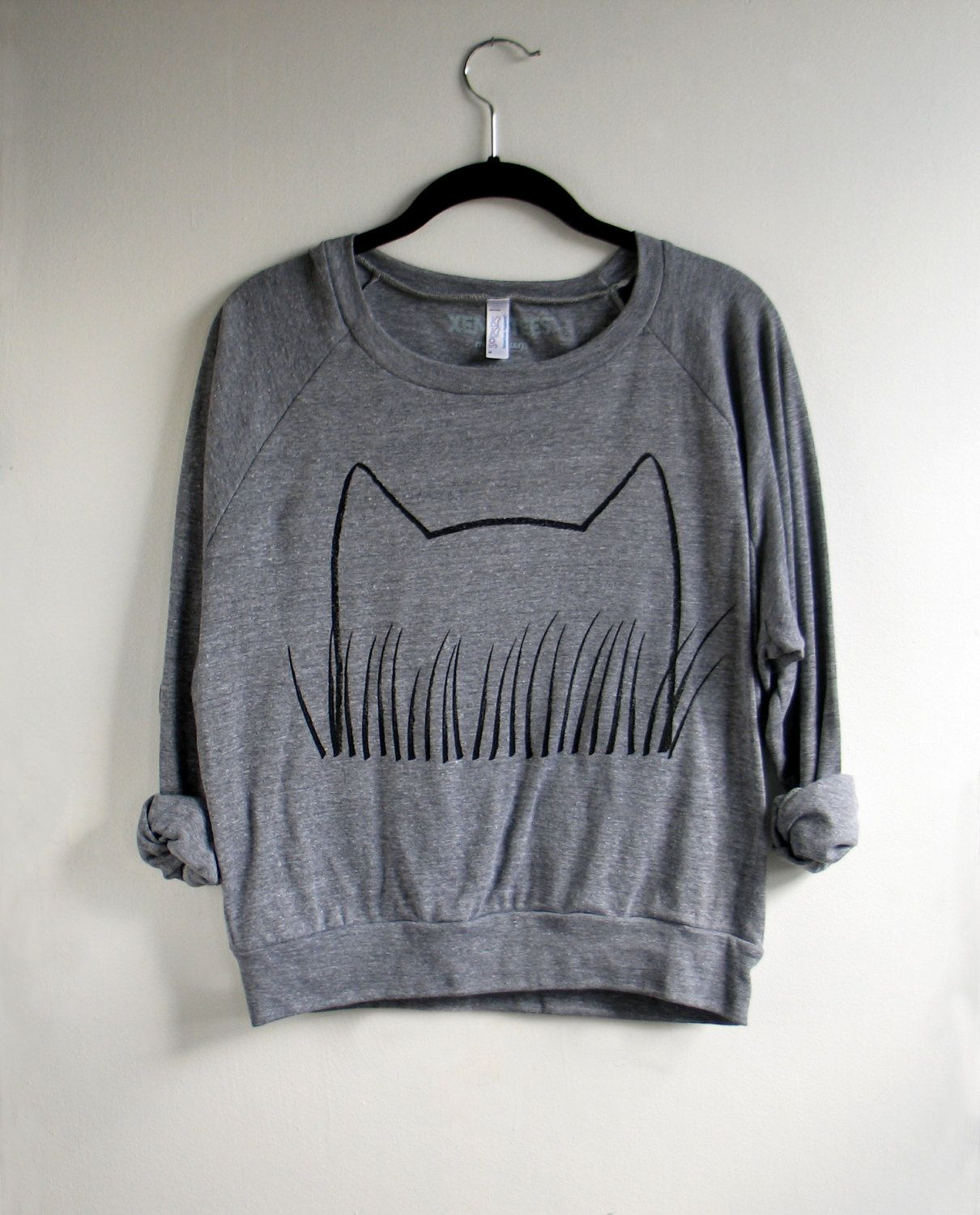 Cat Sweatshirt , Cat Grass Drawing / Heather Gray Pullover : cozy womens fashion, gift for her, crazy cat lady. $34.00, via Etsy.