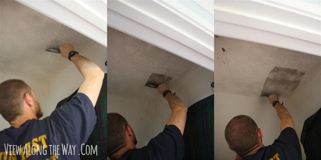 How To Scrape Popcorn Ceilings You Re Gonna Want To Soak The Ceiling Pretty Well With Your Spray Bottle Removing Popcorn Ceiling Popcorn Ceiling Home Repairs