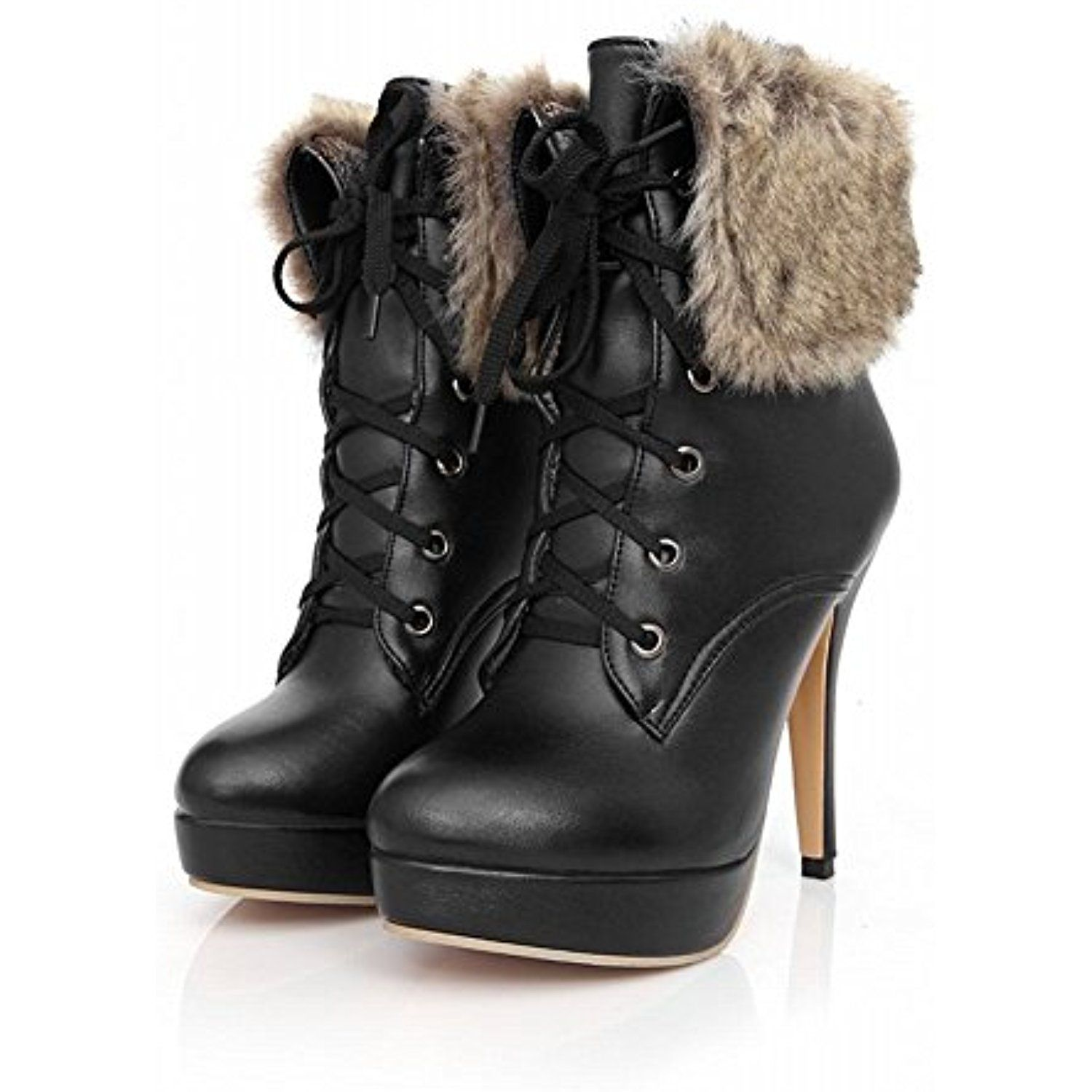 Women's Fashion Ankle-high High-heel Stiletto Lace-up Snow Boots Faux-fur Decoration