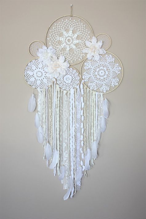 Large Dreamcatcher Wall Hanging-White Cream Dream Catcher-Floral Dream Catcher-Boho Wedding-Bedroom Wall Decor-Doily Dreamcatcher #dreamcatcher