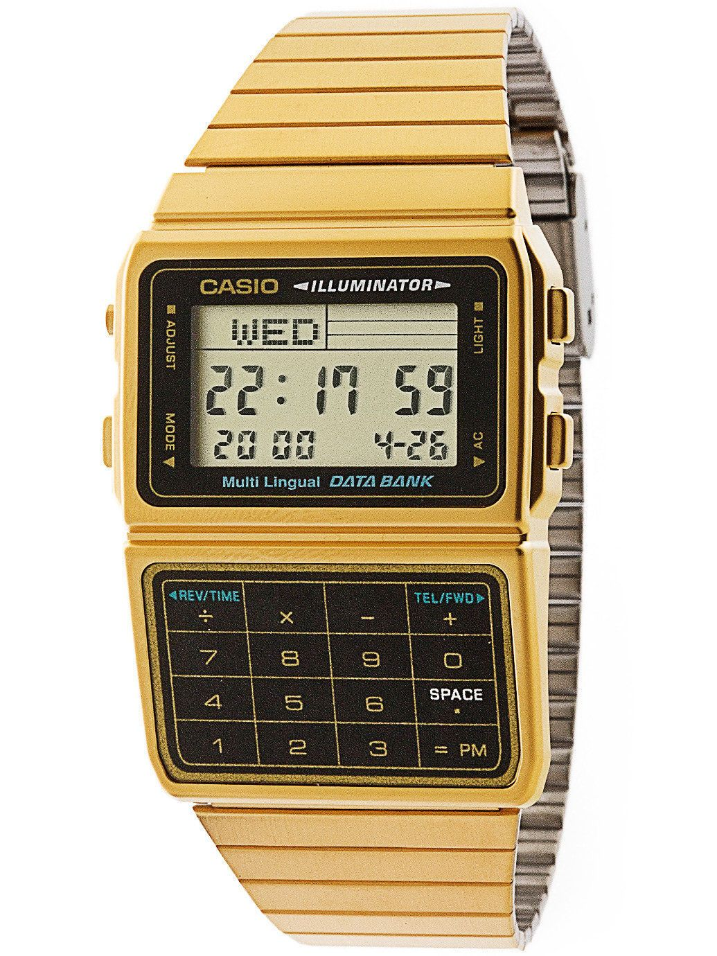 Casio Dbc611g 1df Gold Stainless Steel Databank Calculator Watch 5 Expedition E6665m Jam Tangan Pria Strap Leather Alarms New